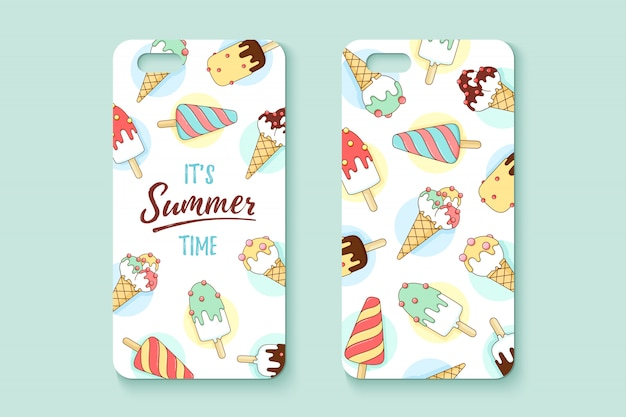 Template phone case with icecream and text summer