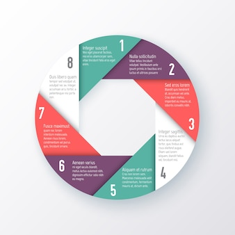 Template for a pie chart of the eight parts. business concept
