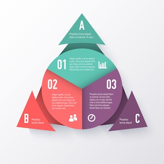 Template of a pie chart with triangle arrows. business concept