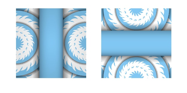 Template postcard in blue color with indian white ornaments for your design.