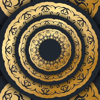 Шаблон открытка черного цвета с орнаментом под старину, подготовленная к печати.