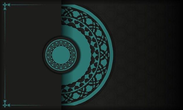 Template for postcard print design with abstract patterns. black vector banner with greek blue ornaments and place for your text and logo.