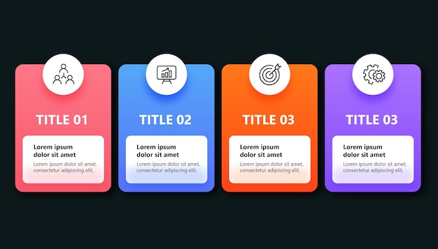 Template presentation infographic with 4 options