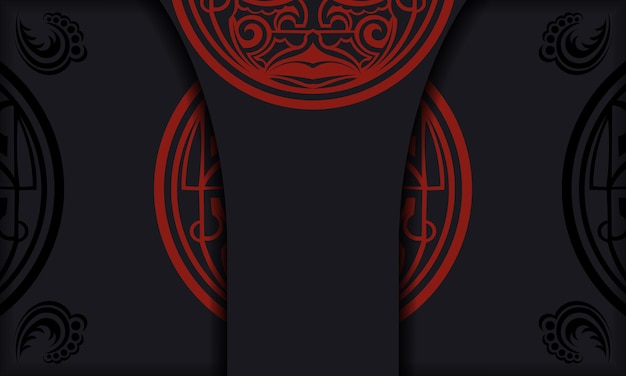 Template for print design background with luxurious patterns. black banner with maori ornaments and place for your logo.