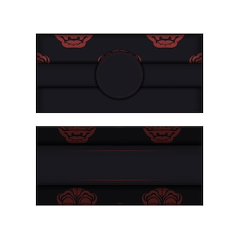Template for print design postcard black colors with a face of chinese dragon ornament.