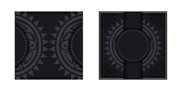 Template for print design postcards in black color with a mask of the gods. preparing an invitation with a place for your text and a face in the polizenian style.