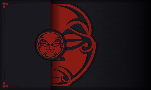 Template for a printable design of a postcard with a face in a polizenian style ornaments. black banner with mask of the gods ornaments