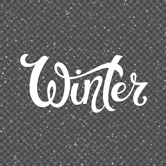 Template for prints and posters. hand drawn winter inspiration phrase over isolated snowy background. vector