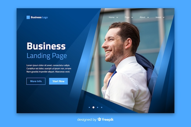 Template professional landing page with photo