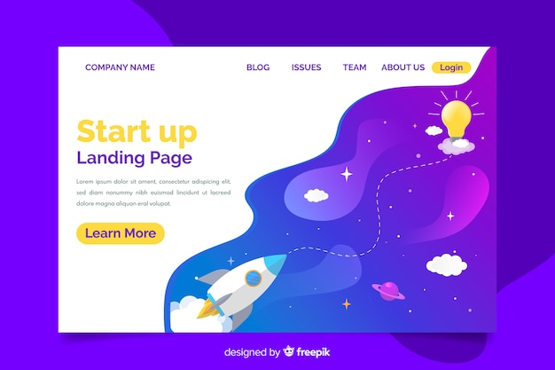 Template professional startup landing page