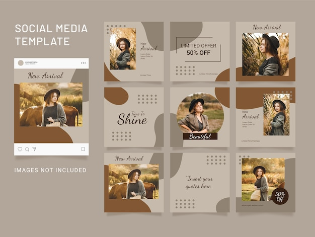Template puzzle social media feed fashion women