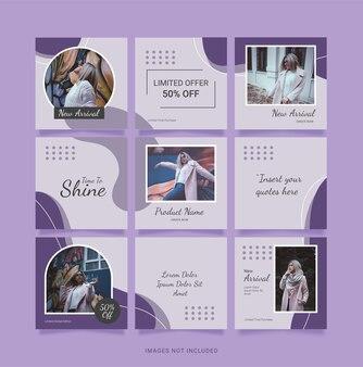 テンプレートパズル女性ファッションフィードinstagram