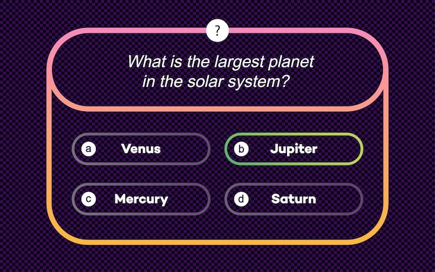 Template question and answers modern neon style for quiz game exam tv show school examination test