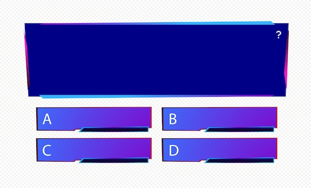 Template question and answers neon style for quiz game exam tv show school examination test vector