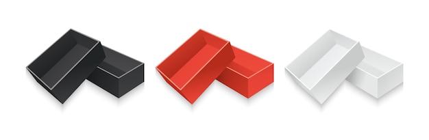 템플릿 현실적인 판지 선물 상자 세트 컨테이너 흰색, 검정과 빨강 종이 포장 컬렉션
