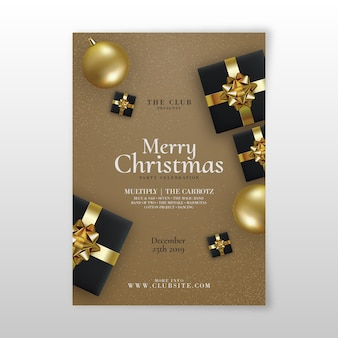 Template realistic christmas party flyer