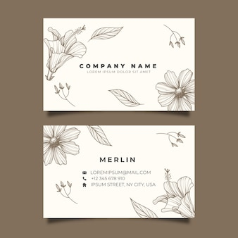 Template realistic hand-drawn floral business card