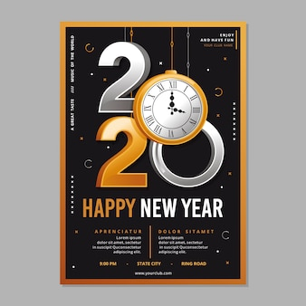 Template realistic new year flyer