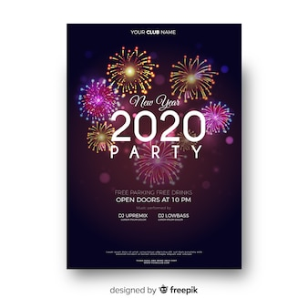 Template realistic new year party flyer