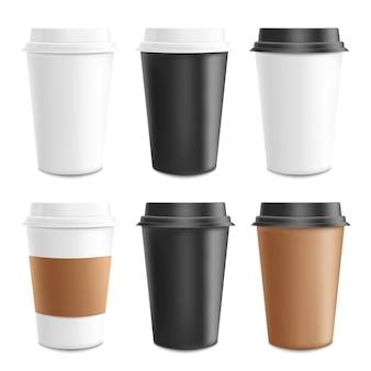 종이 골 판지 및 플라스틱 커피 컵의 템플릿 현실적인 세트