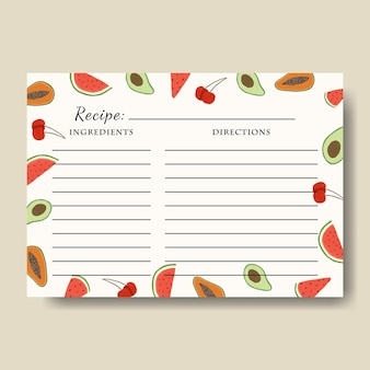 Template of recipe card with fruits illustration background printable