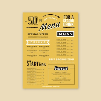 Template restaurant colorful menu