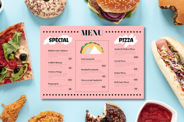 Template restaurant colorful menu