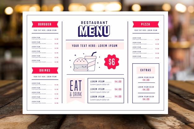 Шаблон ресторана красочное меню