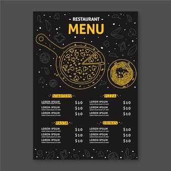 Template for restaurant menu concept
