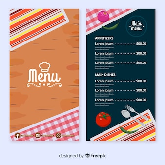 Template for restaurant menu with different dishes
