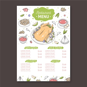 Template for restaurant menu