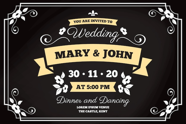 Template retro wedding invitation
