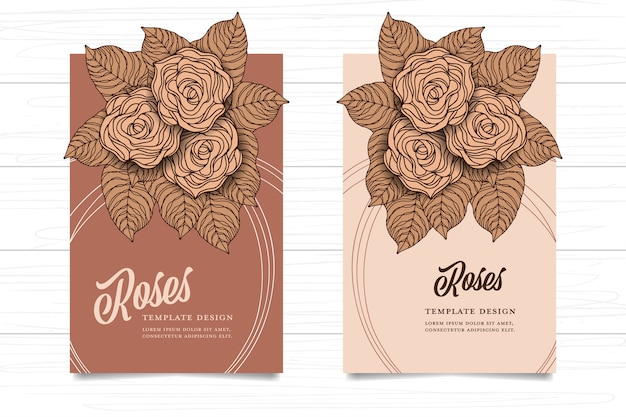 Template rose vintage style brown color on white wood background