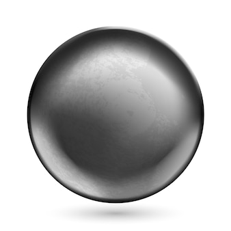 Template of round concave metal disk or button with dark steel texture isolated on white background