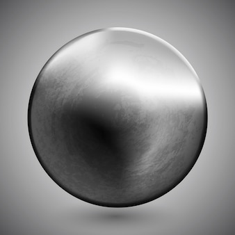 Template of round metal disk or button with dark steel texture metallic material engineering object