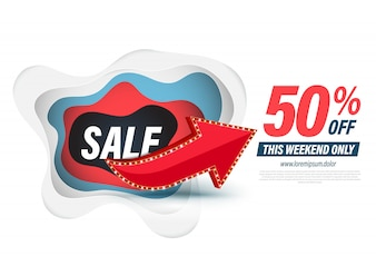 Template sale with red arrow for discount promotion