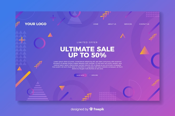 Template sales abstract landing page