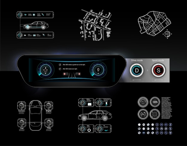 Template-sample car dashboard and the principle of switching modes selector automatic