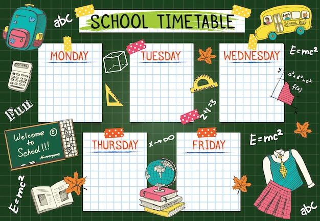 Template school timetable for students or pupils.  illustration includes many hand drawn elements of school supplies  and chalkboard background theme.