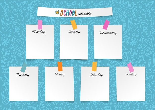 Template school timetable for students or pupils. illustration with pieces of paper on stickers. days of week