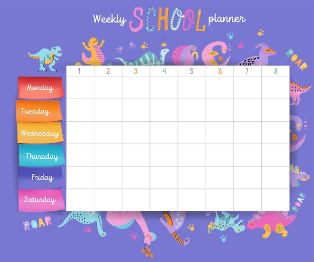 Template school timetable for students or pupils with days of week and free spaces