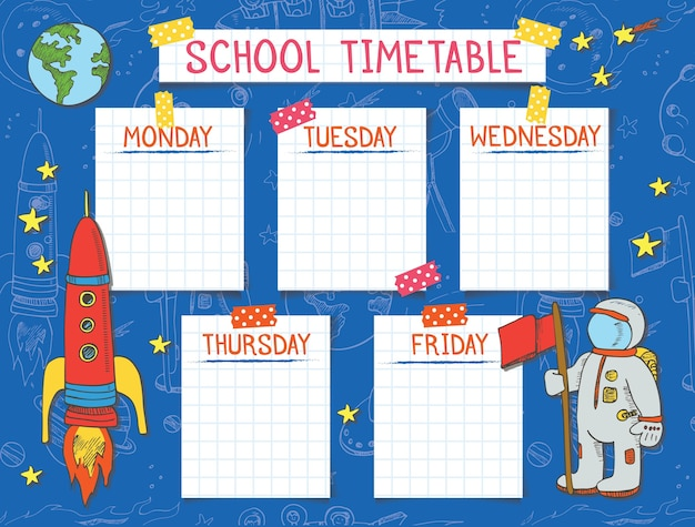 Template school timetable for students or pupils