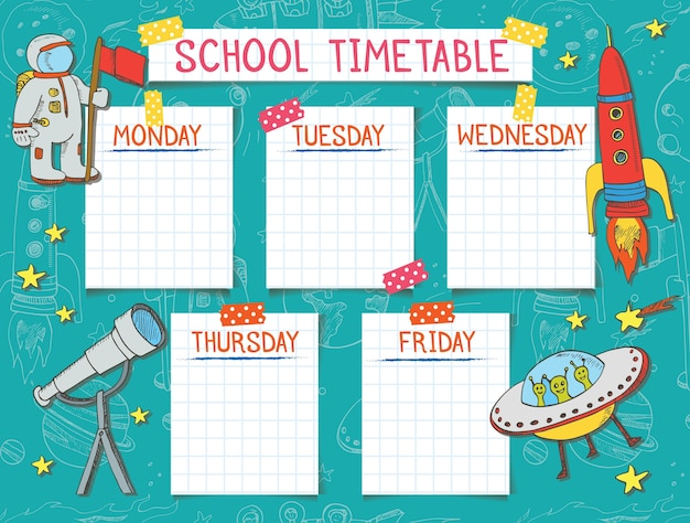Template school timetable for students or pupils.