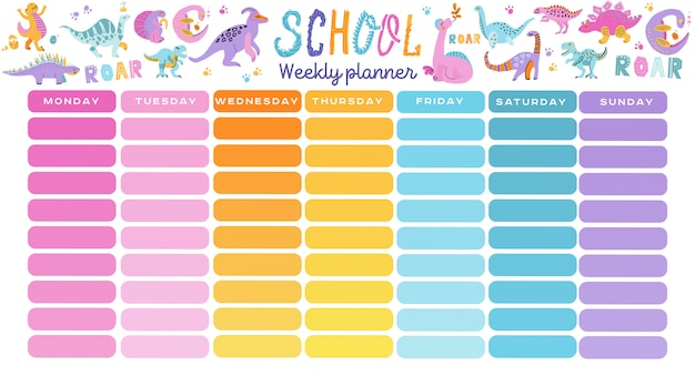 Template school timetable with hand drawn cartoon dino characters