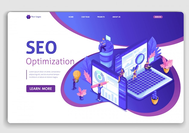 Template  seo analytics landing page. isometric search engine optimization analysis concept. it specialists working around web pages. easy to edit and customize