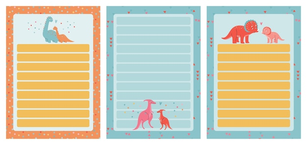 A template set for simple planners and todo lists for kids with cute illustrations