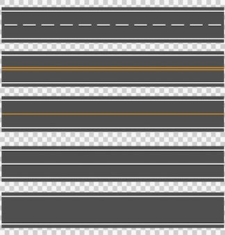 Template set of straight asphalt roads.