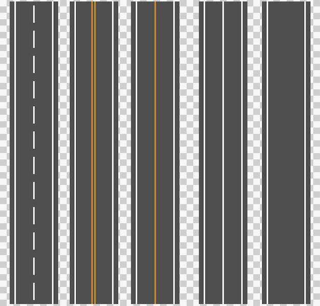 Template set of straight asphalt roads