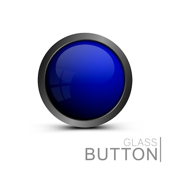 Template shiny buttons under the icons. blue round button.