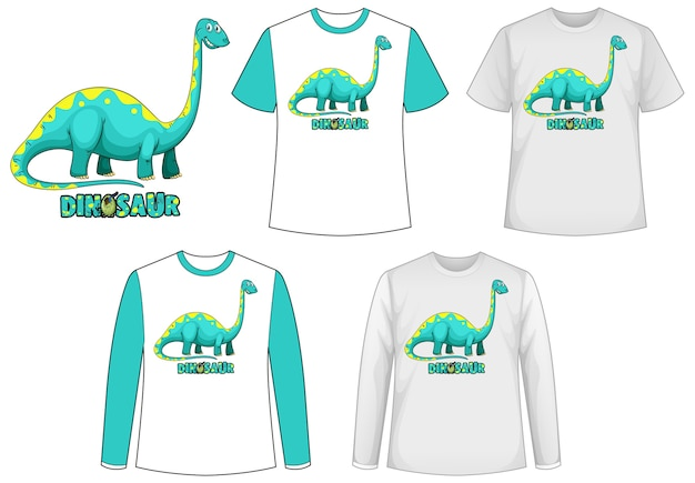 Template shirt with dinosaur cartoon character